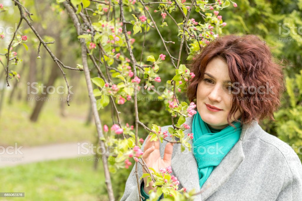 Woman in Spring Park royalty-free stock photo