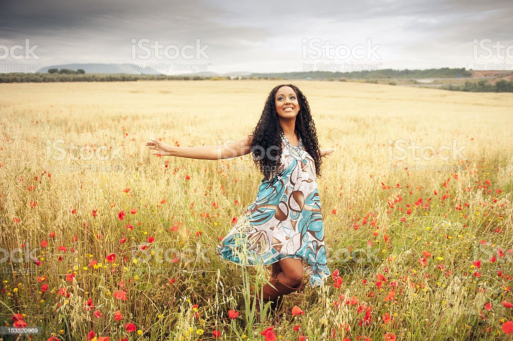 Woman in spring stock photo
