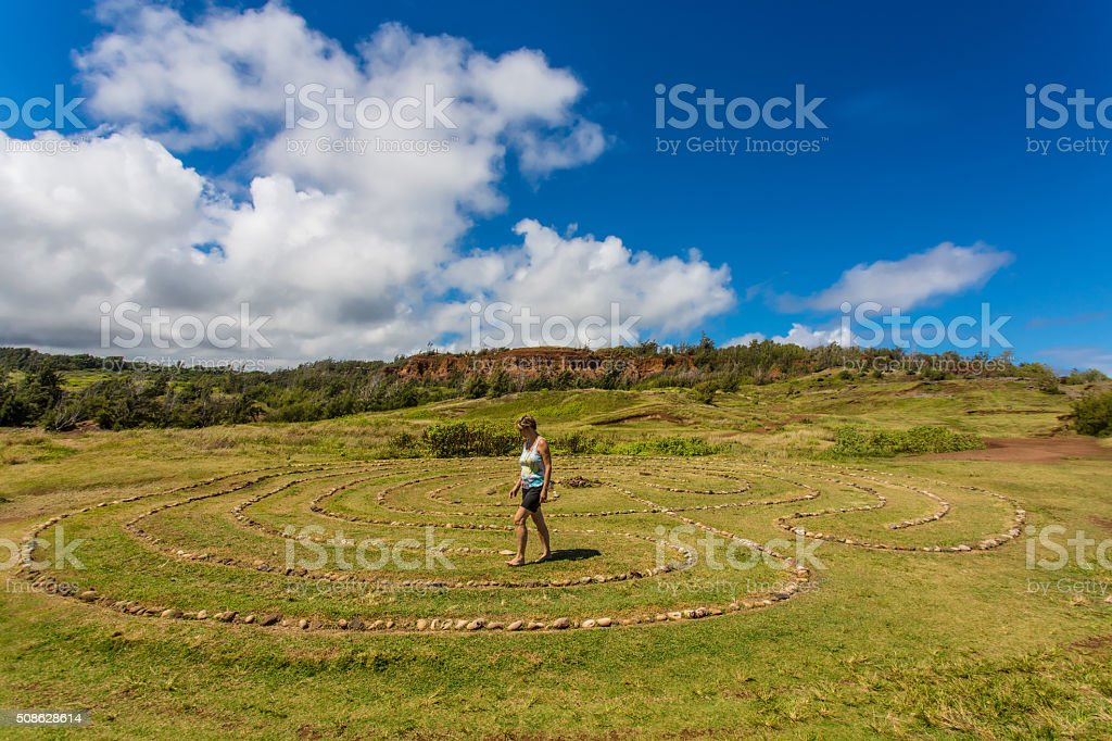 Woman in Stone Circle stock photo