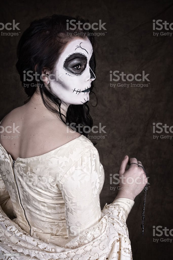 Woman In Sugar Skull Makeup And Vintage Wedding Dress Stock Photo ...