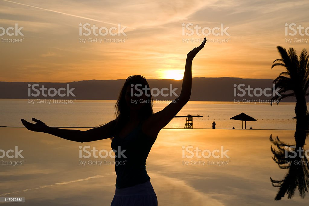 Woman in sunset light royalty-free stock photo