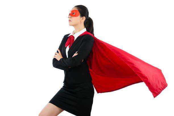 frau in superhelden kleidung schutzbrille und mantel - damen umhänge stock-fotos und bilder