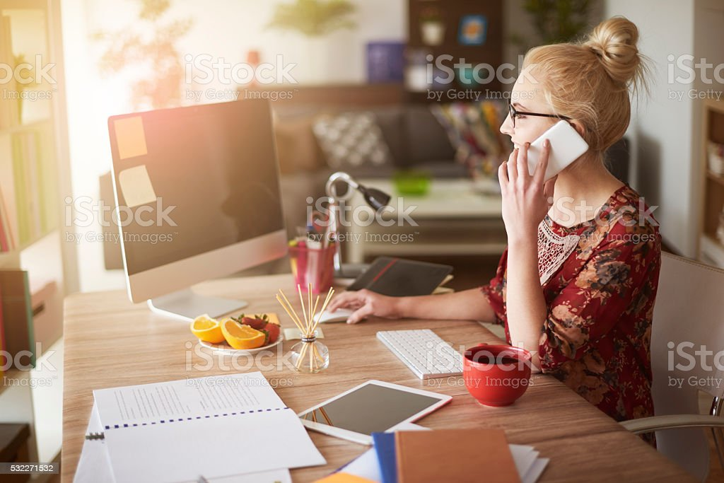 Woman in surroundings of digital technology stock photo