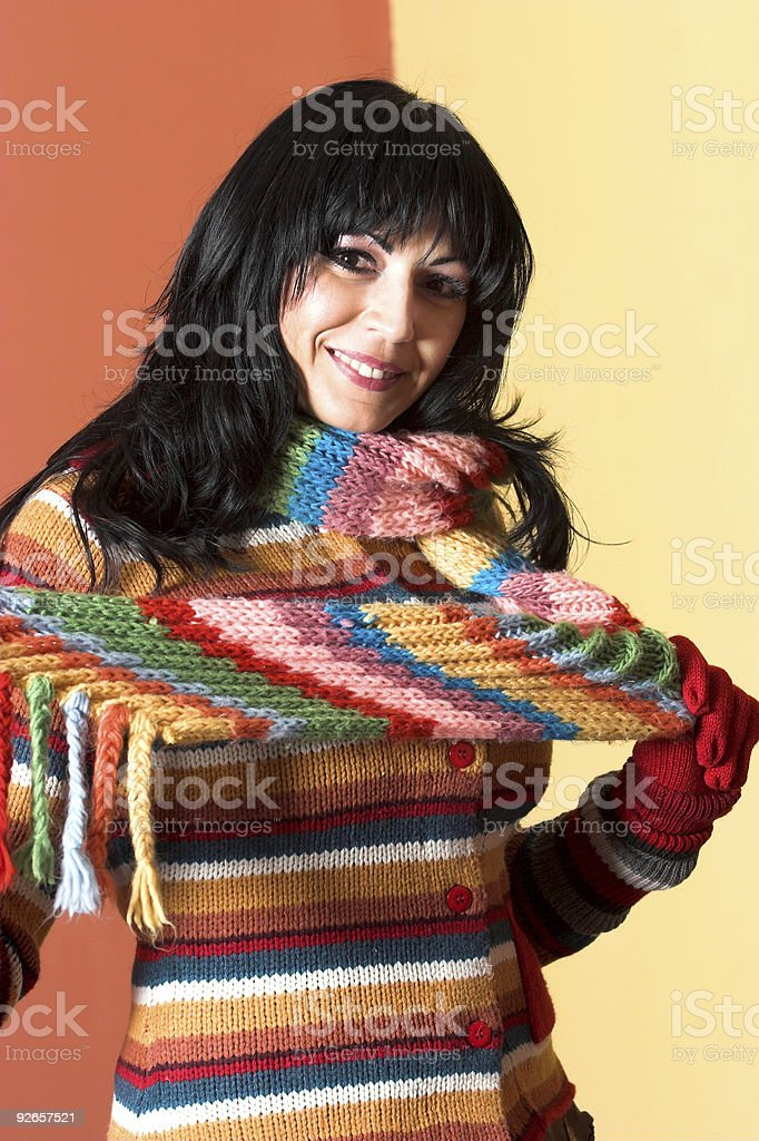 woman in sweater dress royalty-free stock photo