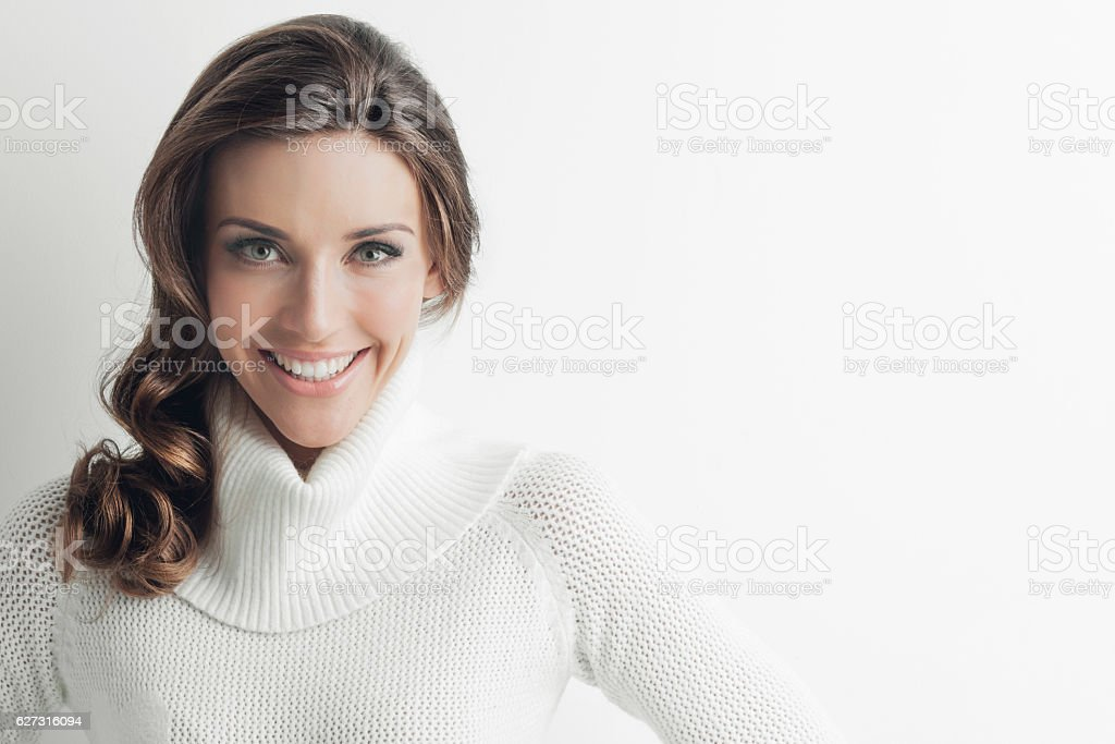Woman in sweater stock photo