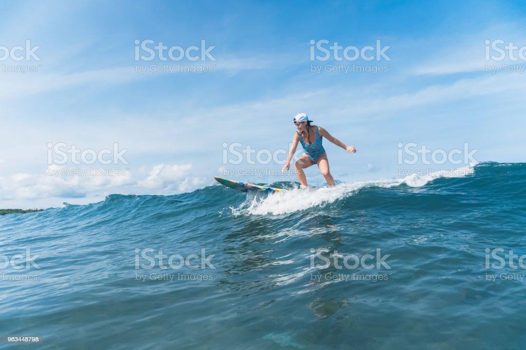 femme en costume surf la natation dans l'océan - Photo de Activité de loisirs libre de droits