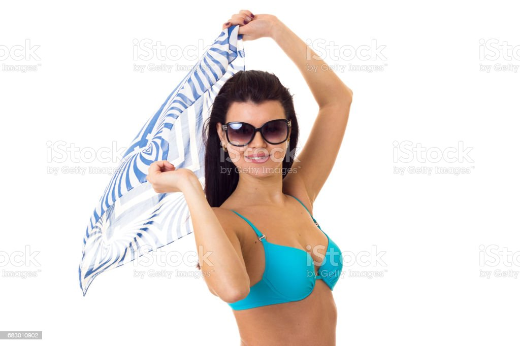 Woman in swimming suit with shawl and sunglasses foto de stock royalty-free