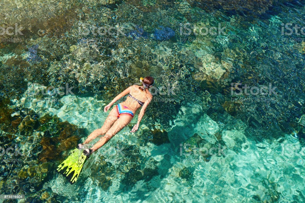 woman in swimsuit snorkeling in clear tropical sea above coral reef. stock photo