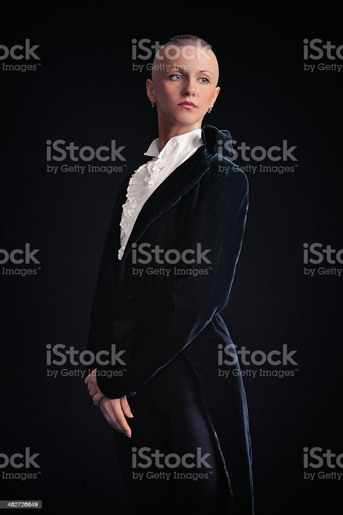 Woman in tailcoat stock photo