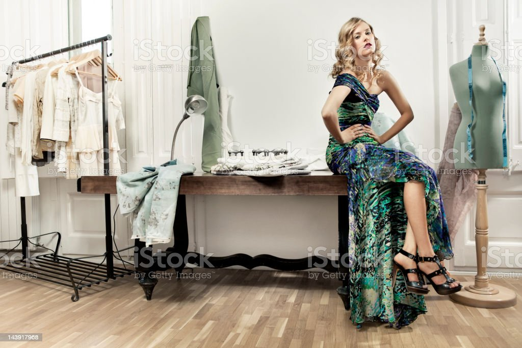 Woman in tailor workshop stock photo