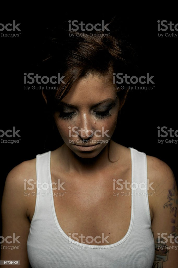 Woman in Tanktop Eyes Closed royalty-free stock photo