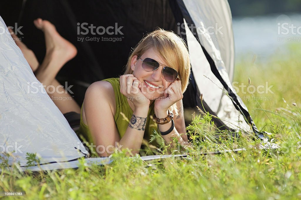 woman in tent royalty-free stock photo