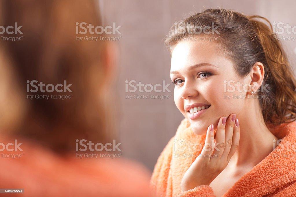 woman in the bath stock photo