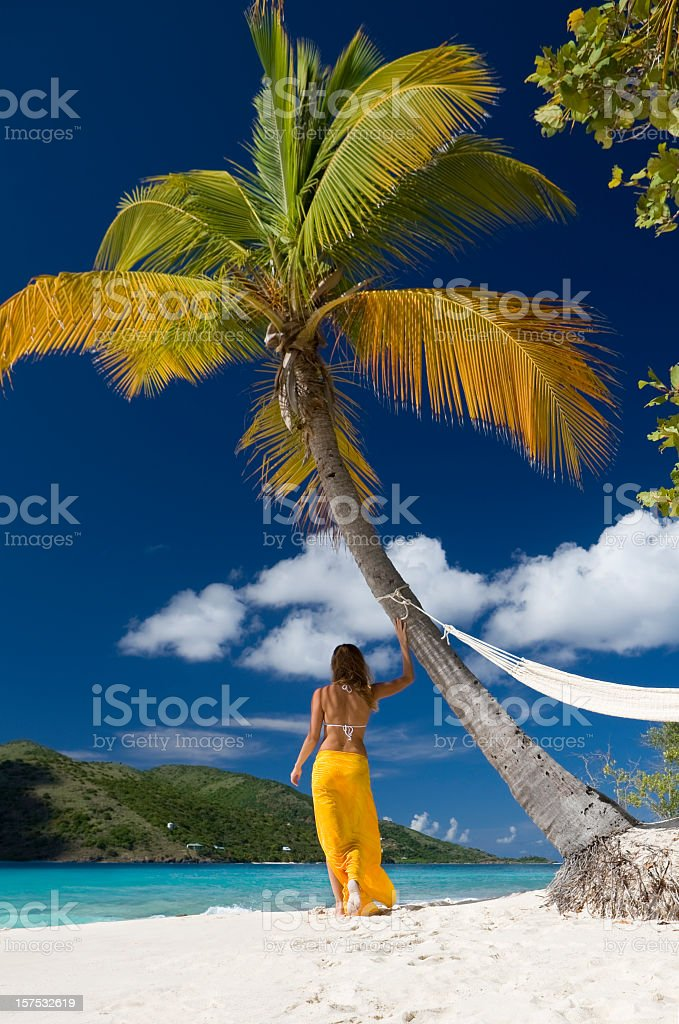 woman in the Caribbean paradise stock photo