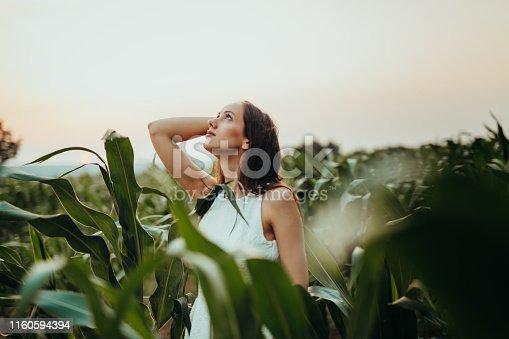 Woman in the field having fun