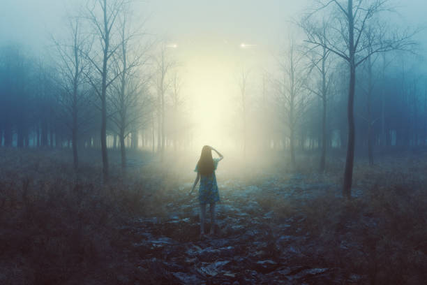 Woman in the forest with mysterious lights at night stock photo