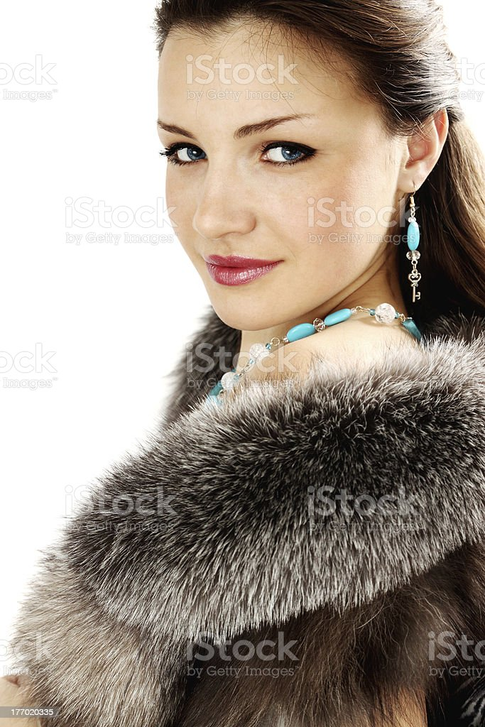 woman in the furs stock photo