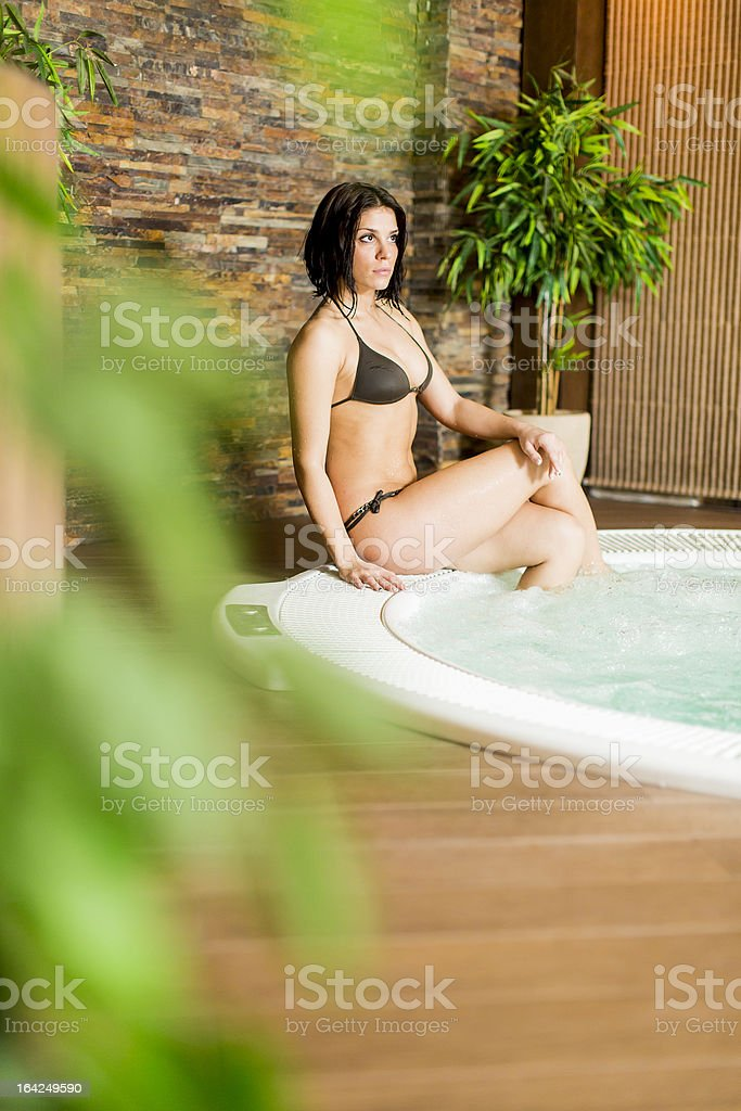 Woman in the hot tub royalty-free stock photo