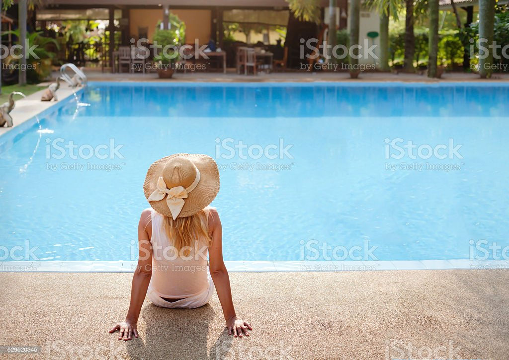 woman in the luxury hotel stock photo