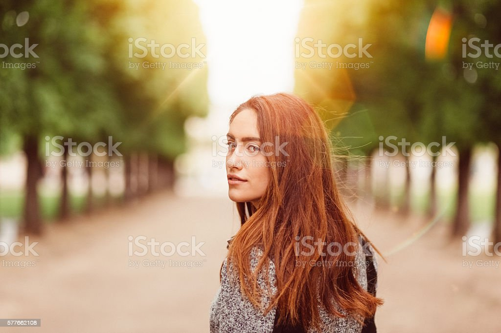 Woman in the park stock photo
