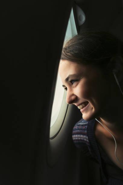 飛行機の女性 ストックフォト