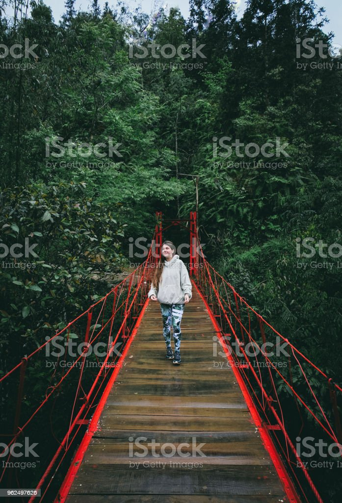 Mulher na ponte vermelha na floresta tropical no norte do Vietnã - Foto de stock de 20 Anos royalty-free