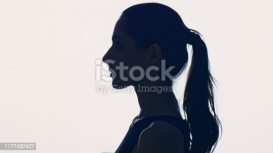 Beautiful, seductive woman face skin care. Profile view