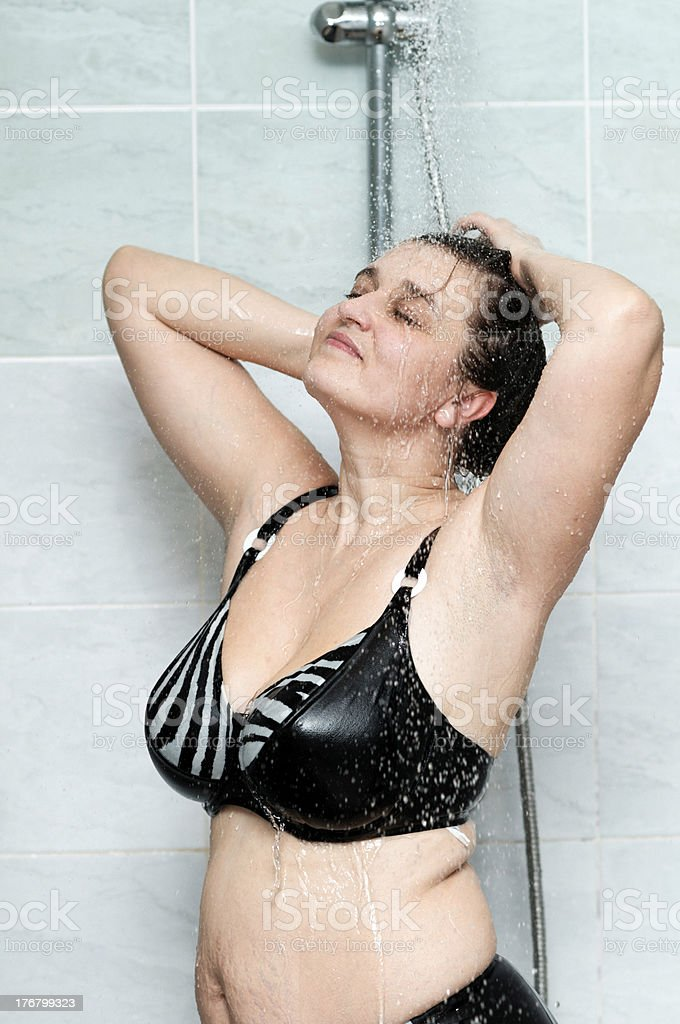 woman in the shower royalty-free stock photo