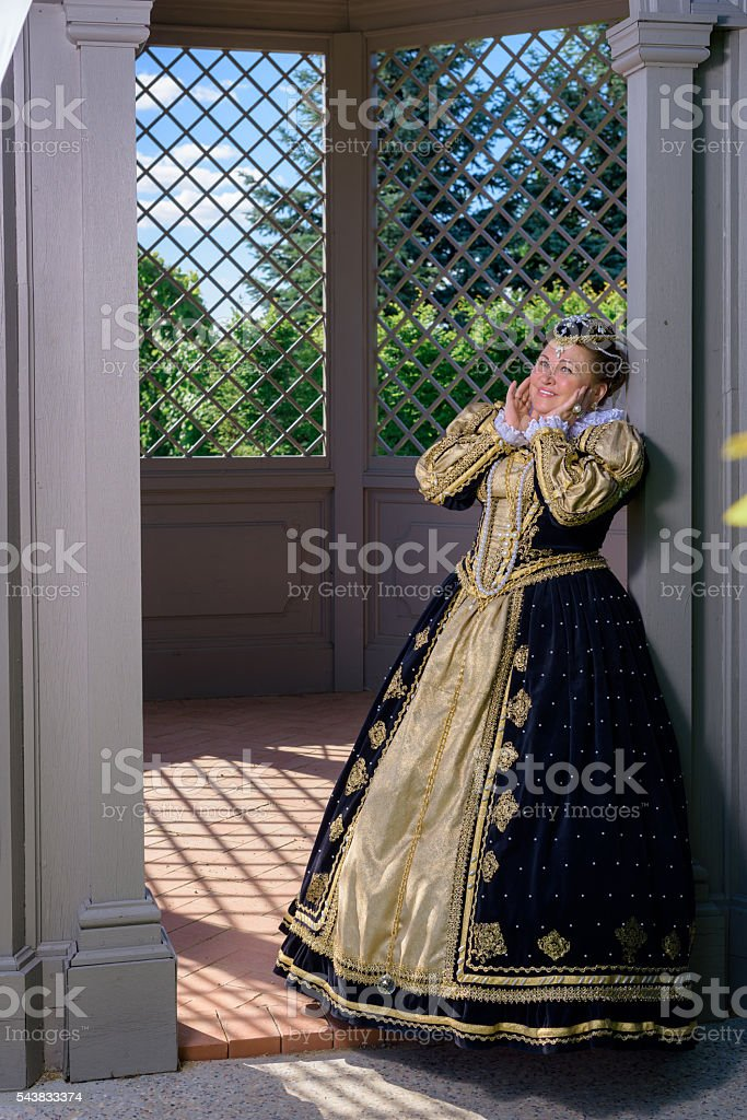 Woman in the similitude Marguerite of Navarre, queen France stock photo