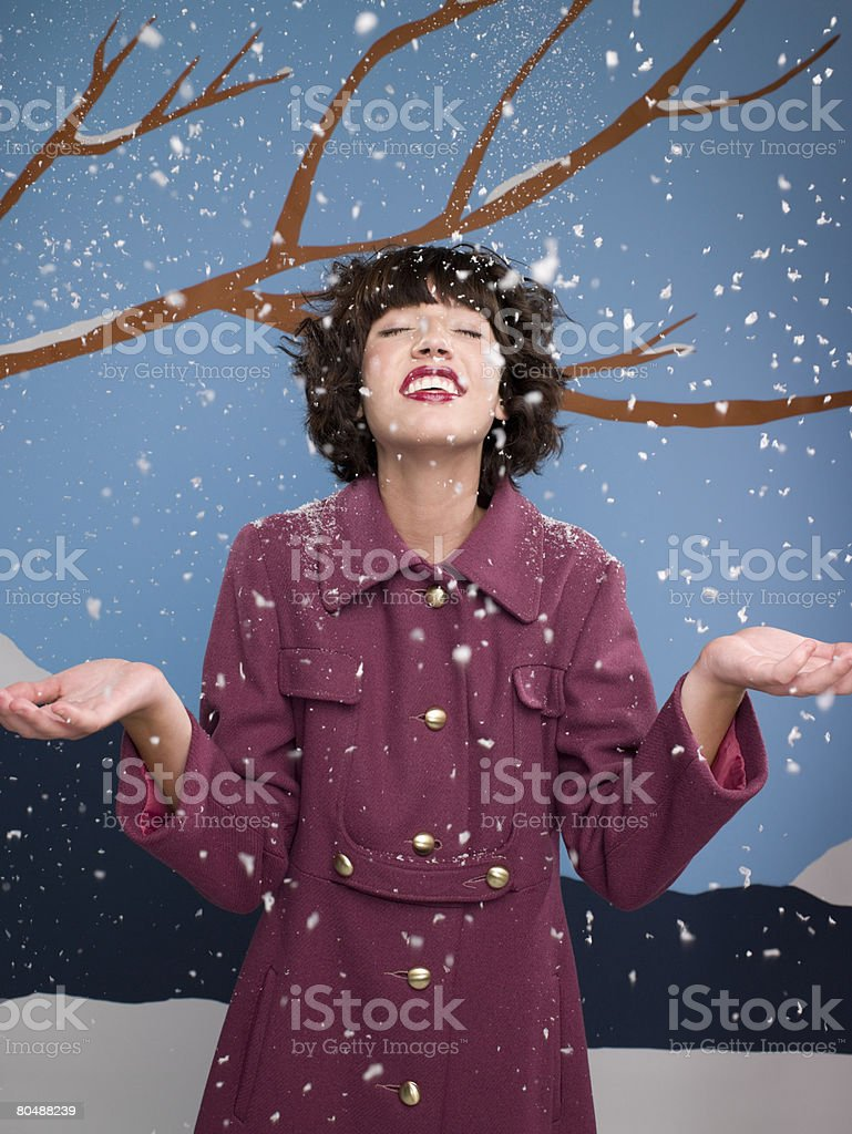 Woman in the snow royalty-free stock photo