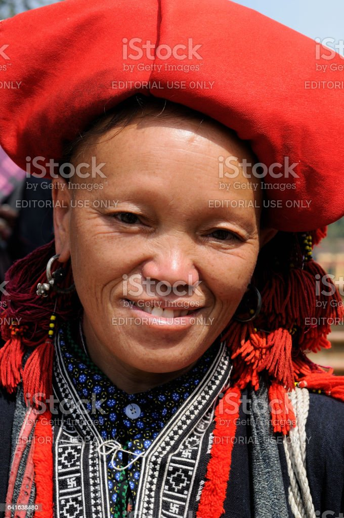 Woman in the traditional dress of Red Dao ehtnic minority people of Vietnam stock photo