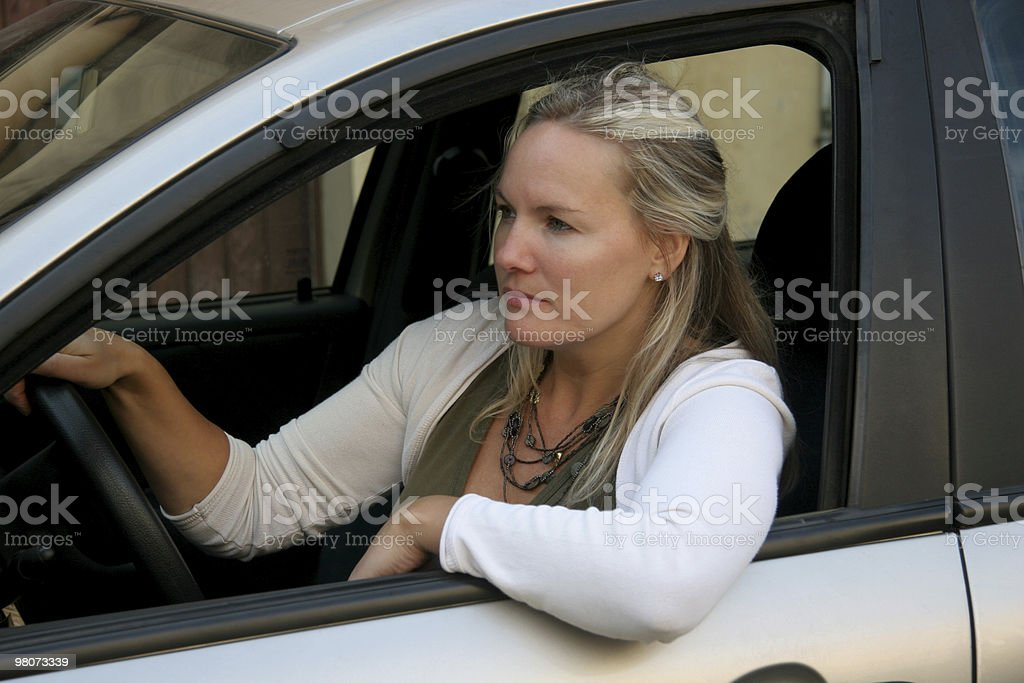Woman in the traffic royalty-free stock photo