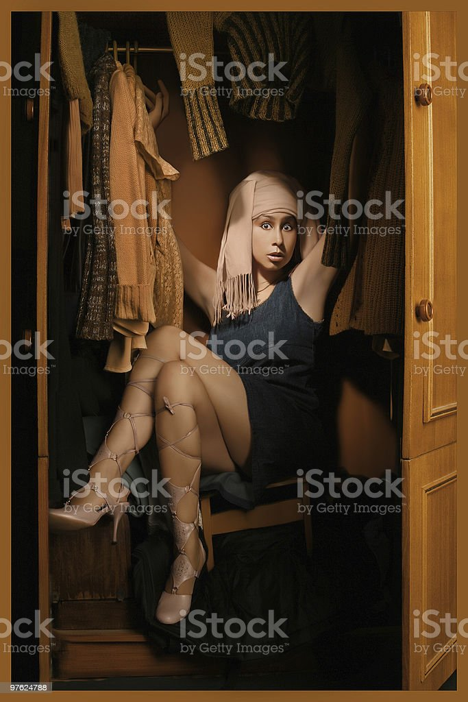 Woman in the wardrobe royalty-free stock photo