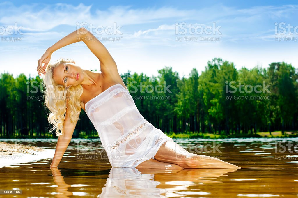 Woman in the water royalty-free stock photo