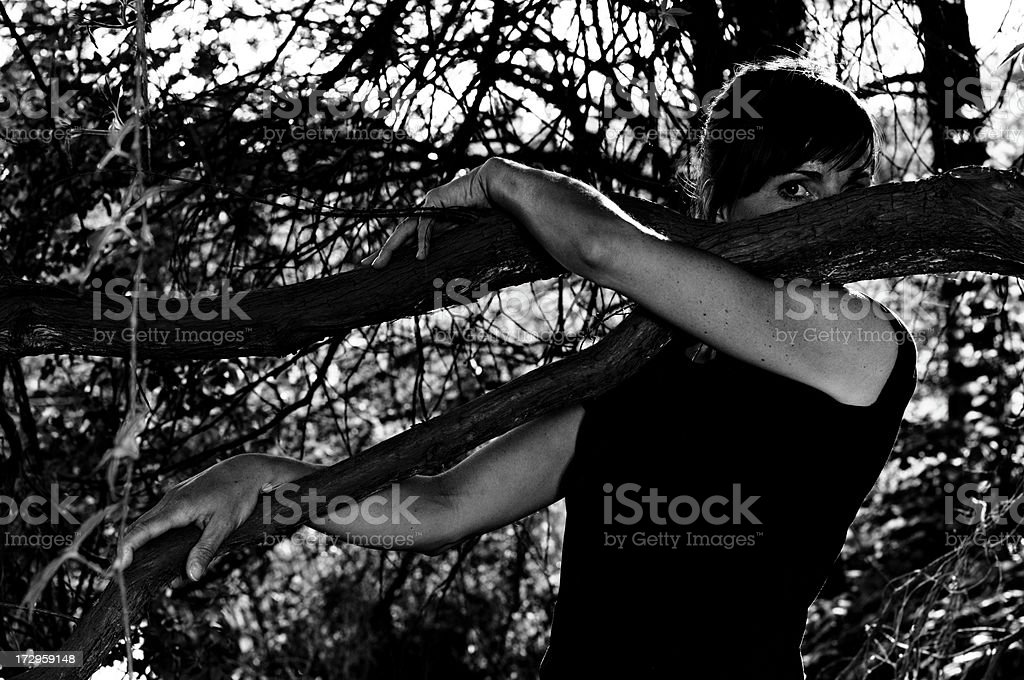 woman in the woods royalty-free stock photo