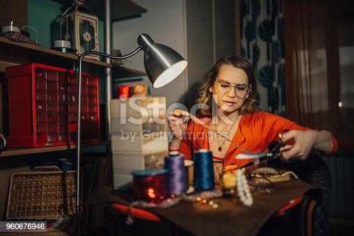 512345816istockphoto Woman in the workshop making bijouterie 960676946