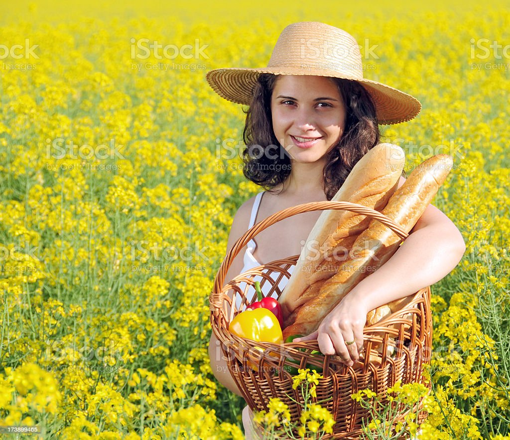Woman in the yellow rape field series royalty-free stock photo