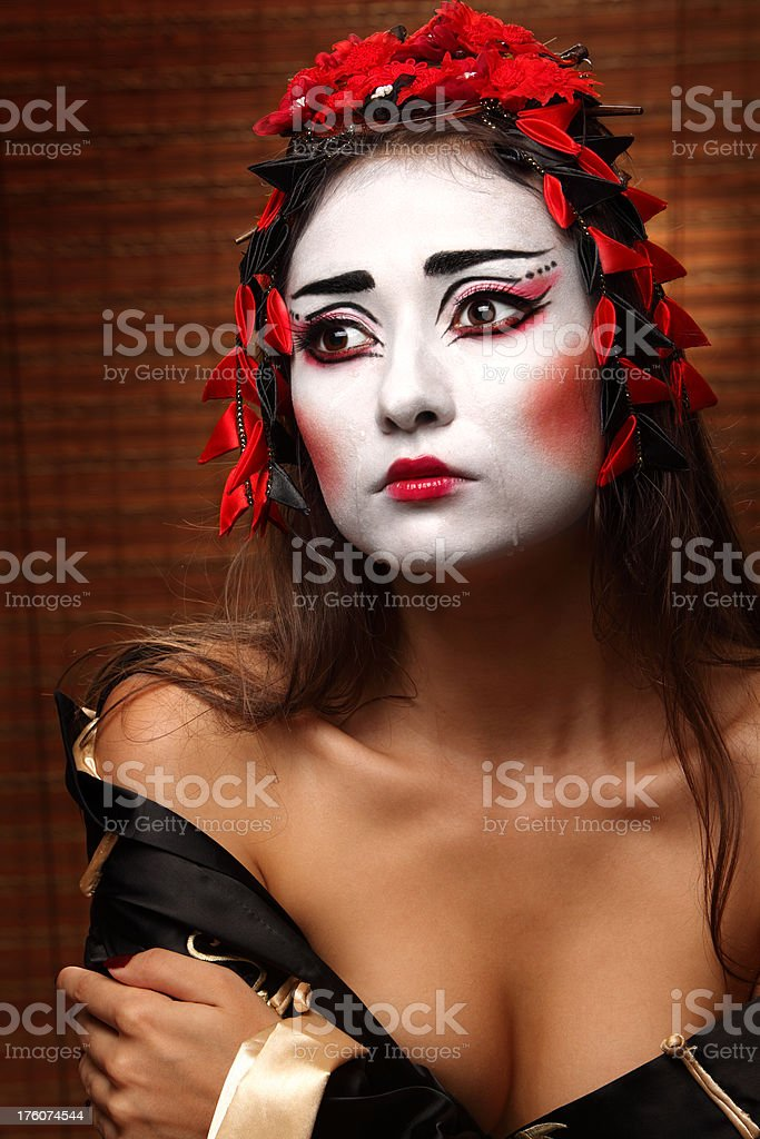 woman in traditional eastern costume royalty-free stock photo