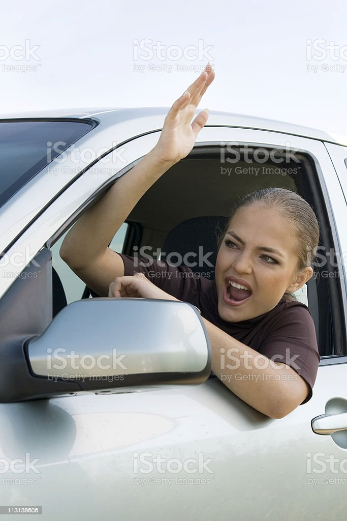 Woman in Traffic Jam royalty-free stock photo