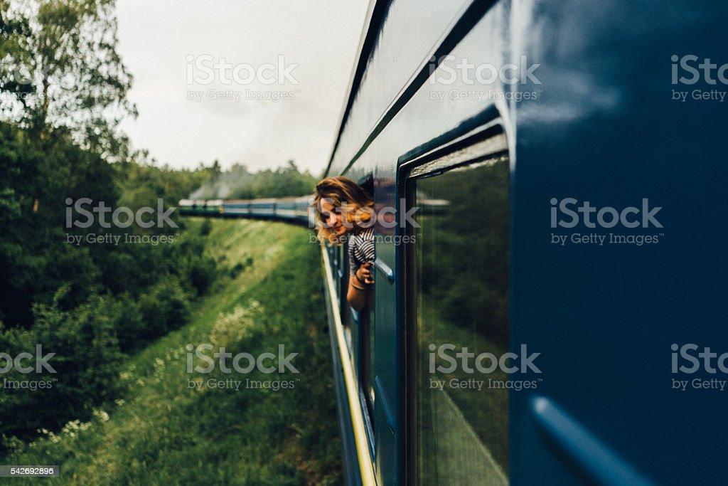 Woman in train stock photo