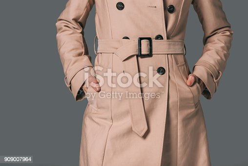 cropped shot of woman in trench coat isolated on grey