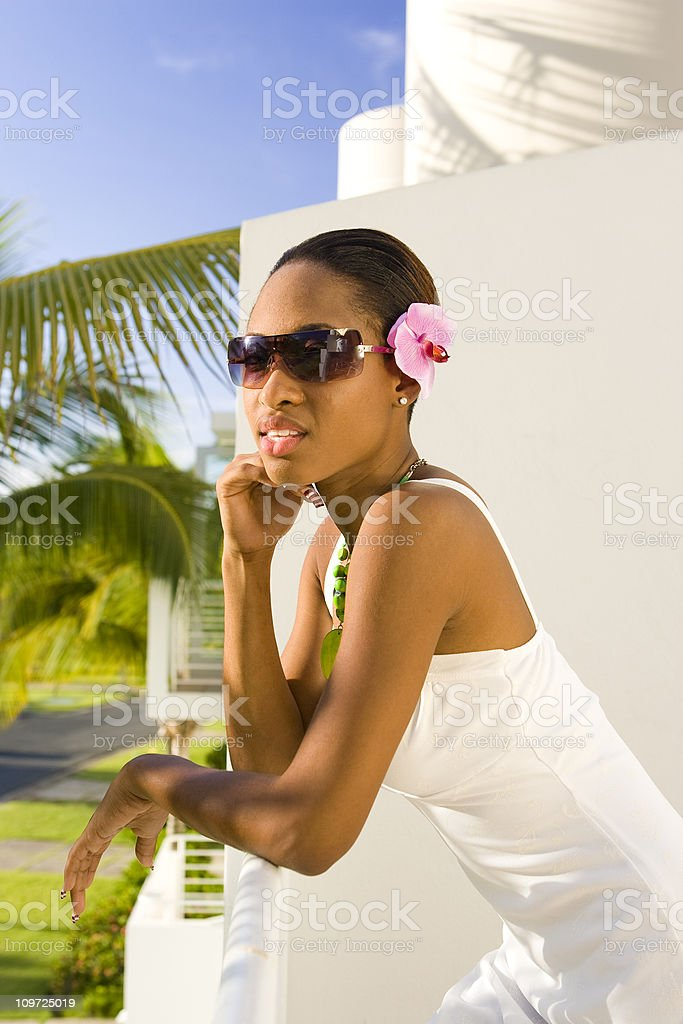 Woman in Tropical Vacation Paradise stock photo