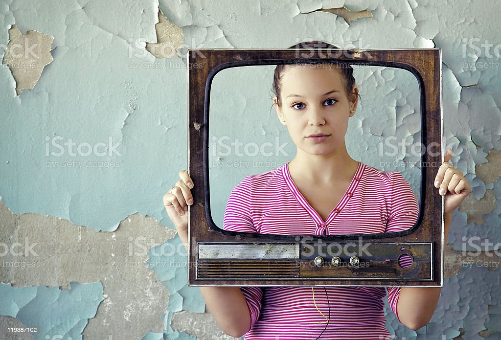 woman in tv frame royalty-free stock photo