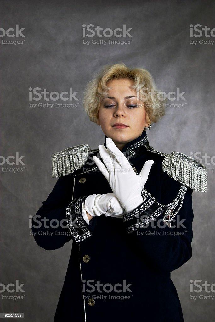woman in uniform stok fotoğrafı