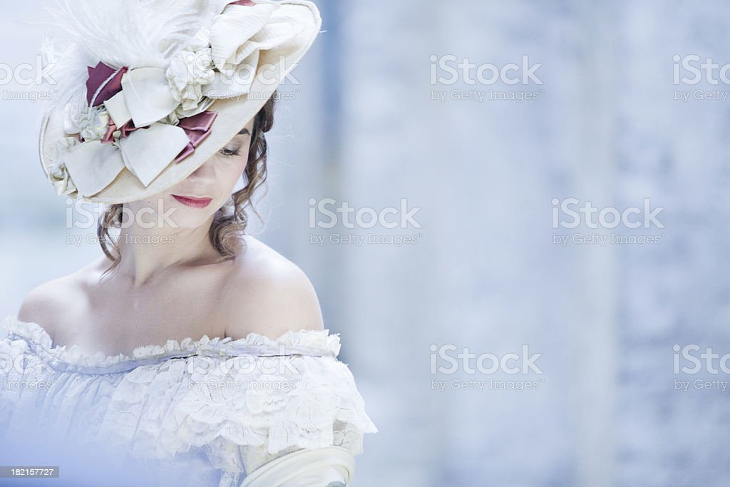 Woman in Victorian dress, London UK stock photo