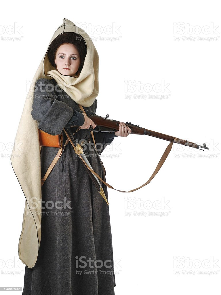 Woman in vintage costume of Russian Cossack. The living history. royalty-free stock photo