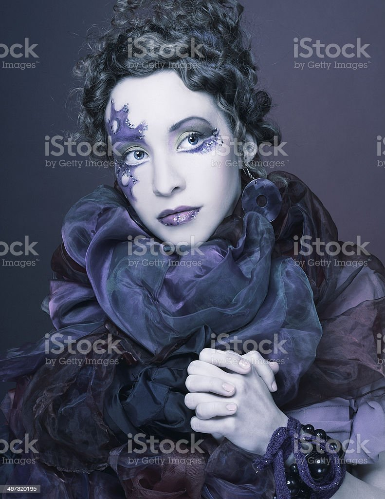 Woman in violet stock photo