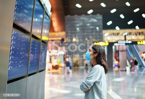 Woman in virus protection face mask looking at information board checking her flight in international airport. Departure board, flight status