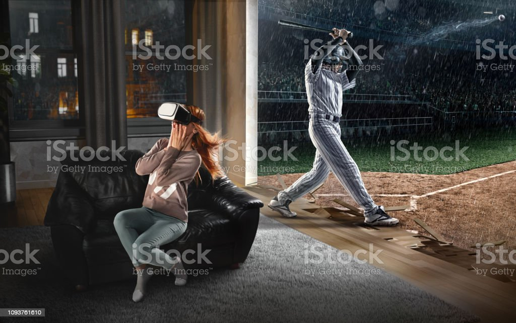 Woman in VR Glasses. Virtual Reality with Baseball stock photo