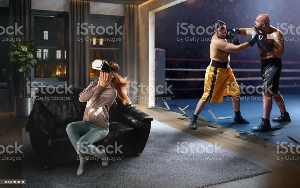 Woman in VR Glasses. Virtual Reality with Boxing stock photo